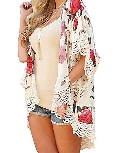Minetom Damen Frauen Sommer Blumenmuster Druck National Printed Strickjacke Cardigan Spitze Chiffon Kimono Plus Größe Schal Blusen Jacke Weiß DE 34