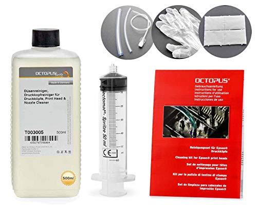 Octopus 500 ml Düsenreiniger, Druckkopfreiniger kompatibel für Epson Druckköpfe mit Schlauchadapter (kein OEM)