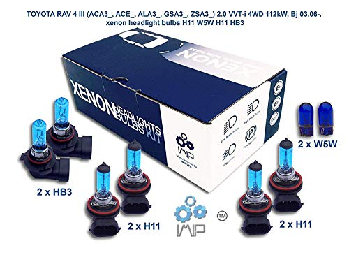 Ampoules de phares xénon lumineux| DIY, Kit simple d'utilisation | Compatible H11 H11 HB3 Plus ampoules éclairage latéral gratuites W5W