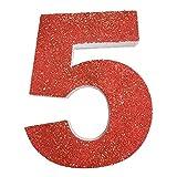 Letra del Alfabeto y Numeros en poliestireno de 20 centimetros de Altura para Decoracion con Purpurina roja para Eventos, Bodas y Fiestas (5)
