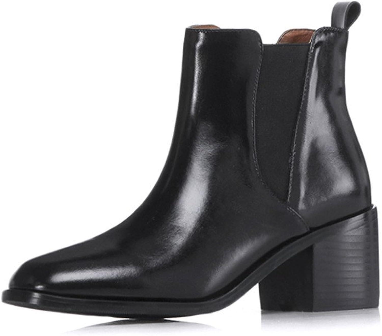 Nine Seven Women's Chelsea Boots - Handmade Ankle Booties with Chunky Low Heel - Ladies Dressy Comfort Walking Boots