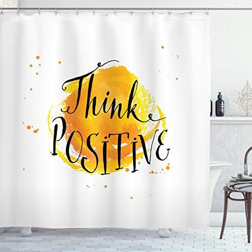 ABAKUHAUS motivational Duschvorhang, Farbe Splash Quote, mit 12 Ringe Set Wasserdicht Stielvoll Modern Farbfest & Schimmel Resistent, 175x180 cm, Orange Schwarz