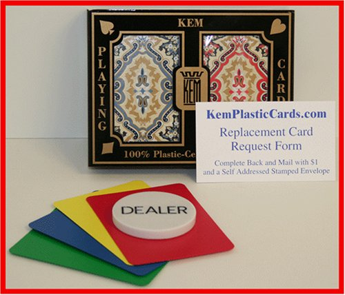 KEM Paisley Bridge Size Regular Index 100% Plastic Playing Cards with Free Dealer Button, 4 Free Cut Cards and Replacement Request Form