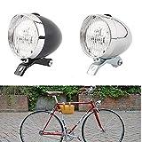Fahrradlicht, Scheinwerfer, Fahrrad-Frontlicht, Fahrradlampe, Taschenlampe Sicherheitswarnung Vintage 3 LED Retro Fahrradlampe(Silver)