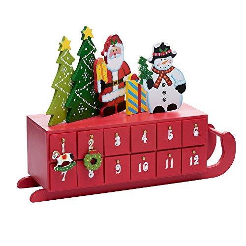 Kurt Adler Wooden Sleigh Shaped Advent Calendar, 14-Inch