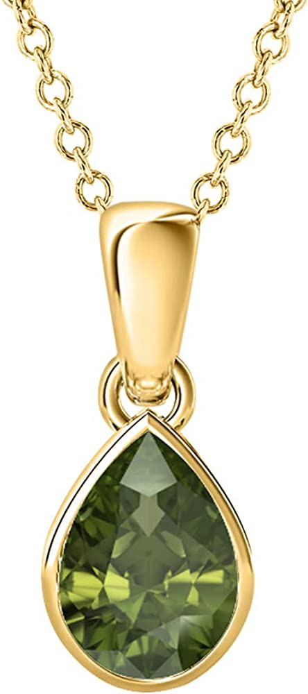 5x7mm to 10x12mm Pear Shaped Green Tourmaline Solitaire Bezel Set Pendant Necklace 14k Gold Over .925 Sterling Silver Valentines Days Special for Womens