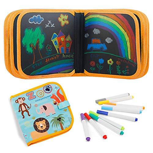 FOONEE Montessori - Lavagna da Disegno per Bambini, cancellabile su Entrambi i Lati, con 12 Penne cancellabili Colorate, 20 x 20 cm, 14 Pagine Monkey