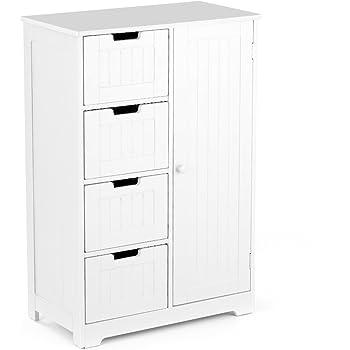 IKAYAA Cómoda Moderna con 4 Cajones y 1 Puerta/Armario de Piso/Mueble para Salón y Habitación y Baño Color Blanco 56 * 30 * 81 cm: Amazon.es: Hogar