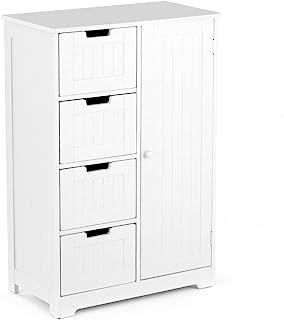 IKAYAA Cómoda Moderna con 4 Cajones y 1 Puerta/Armario de Piso/Mueble para Salón y Habitación y Baño Color Blanco 56 * 30 ...