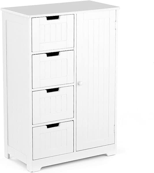 IKAYAA Bathroom Floor Cabinet With Adjustable Shelf And Drawers Bedroom Wooden Storage Cabinet Furniture White