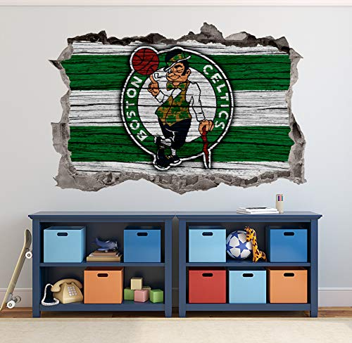 Basketball Boston Team Wall Decals Art 3D Smashed Custom Fan Celtics Wall Decor Bedroom Garage Removable Vinyl Wall Stickers Gift WL181 (24' W x 16' H)