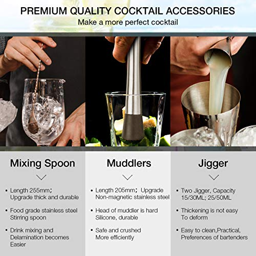 Cocktail Shaker Set, Baban 22Teilige Cocktail Shaker + Whisky Steine, Komplettes Kit, Sie müssen keine zusätzlichen Whisky Steine kaufen,Ideal für Familien, Feste, Bars - 8