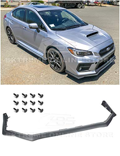 Replacement For 2015-Present Subaru Impreza WRX & STi   EOS V-LIMITED Style Polypropylene PRIMER BLACK Front Bumper Lower Lip Splitter Under Spoiler