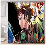Cortinas Decorativas para baño, Calidad de Hotel, Anime Demon Slayer, Kamado Tanjirou, Cortina de Ducha Cuadrada, 72x72 Pulgadas