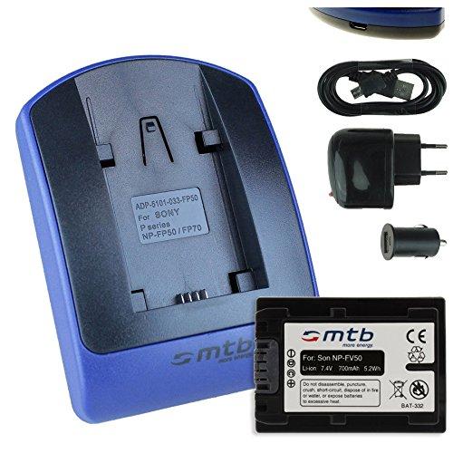 Batteria + Caricabatteria (USB/Auto/Corrente) compatibile con Sony NP-FV50 / DEV-30, 50V. / HDR-CX740, CX900./PJ410 PJ620. / FDR-AX33. / NEX-VG. v. lista!