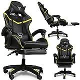 Lindgrün Gaming Stuhl 150 kg belastbarkeit mit Fußstützen +2 Kopfkissen   Lime Green Gaming Chair + 2 Pillow   Gamer Stuhl aus Kunstleder