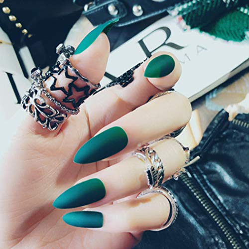 Bodiy Stiletto Press on Nails Green Matte Long Fake Nail Sharp Full Cover Acrylic False Nails for Women and Girls (Pieces of 24)