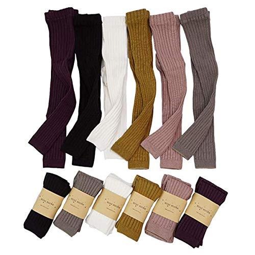 Calça legging unissex de malha para bebês recém-nascidos da oneflow, calça legging lisa para crianças pequenas, pacote com 3/6, 6 Packs Multicolor, 0-12 Months