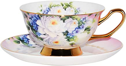 5eecee98251 ACOOME Tea or Coffee Cup-6.8oz Bone China Royal Series Beautiful Flowers Tea  Cup