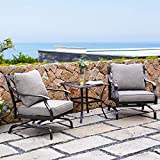 Grand patio 3 Piece Bistro Conversation Set, Outdoor Cushion Rocking Chairs with Table (3 PCS)