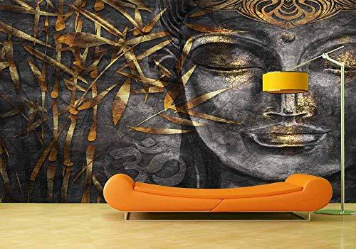 Fotobehang Fotobehang Klassieke Boeddha Achtergrond Muurschildering Woonkamer Slaapkamer Vinyl Muurschildering Waterdicht Muursticker Interieur-400x280cm(157.5by110.2in)