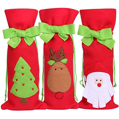 TRIXES 3PZ Confezione di Sacchetti Natalizi Porta Bottiglia, festoso, Borsa Regalo, Babbo Natale, Albero di Natale, Renna, Cappello Verde, Feltro, Calza della Befana.