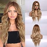 HAIRCUBE lange blonde Perücke für Frauen natürliche synthetische Perücke gewelltes lockiges Haar...