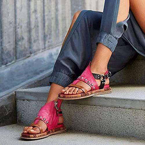 Liumintoy Sandalias de Mujer Sandalias de tacón de cuña de Verano Zapatos de Punta Abierta de Cuero sintético Chanclas con Punta de Clip de Playa,Rosado,35 CN