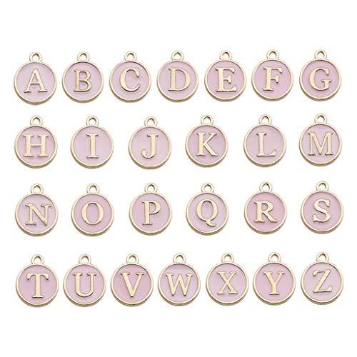 VVXXMO Abalorios de metal mixtos de 26 letras, de doble cara, esmaltados, con inicial del alfabeto A-Z, para hacer joyas y pulseras