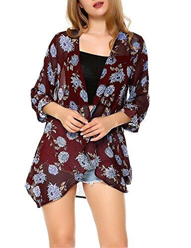 Dromild Kimono Floral de Verano Beachwear de Las Mujeres Cubren Las Tapas de la Rebeca de la Gasa de Boho