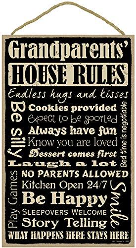 SJT ENTERPRISES, INC. Grandparents' House Rules 10' x 16' Primitive Wood Plaque Sign (SJT28336)