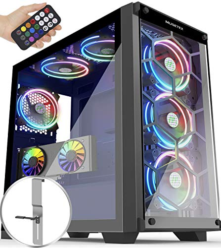 MUSETEX 6 ARGB Fans Honeycomb Airflow 2 × USB 3.0 Mid Tower Case with 2 Tempered Glass Panels Voice Remote Control, PC Gaming Case Computer Chassis Support E-ATX(MU3-MS6)