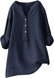 PEIZH Women Stand Collar Solid Color Button Top Casual Stand Long Sleeve Shirt Loose Blouse Button Down Tops
