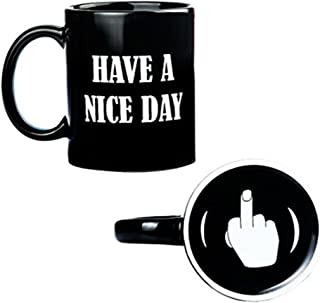 Have a Nice Day Funny Coffee Mug,Novelty Coffee Cups with Middle Finger on the Bottom 13oz Unique Ceramic Novelty Coffee Mugs Holiday Christmas Hanukkah Gift for Men Women Who Love Tea Mugs (Black)