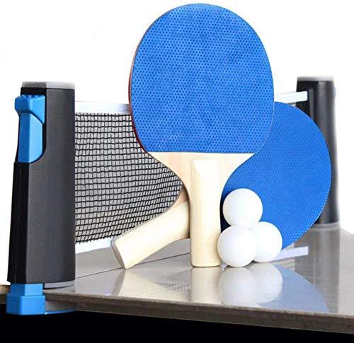 Pala de ping pong portátil para interior y exterior, juego de 4 palas de ping pong, juego de 4 raquetas de tenis de mesa profesionales, 6 bolas de juego, tenis de mesa con mesa retráctil.