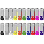 Flash Drive 512MB 20 Pack, AreTop Bulk USB Drive USB 2.0 Pendrive Memory Stick Swivel Thumb Drives Bulk USB Storage Stick(20PCS 512MB, Multicolors)