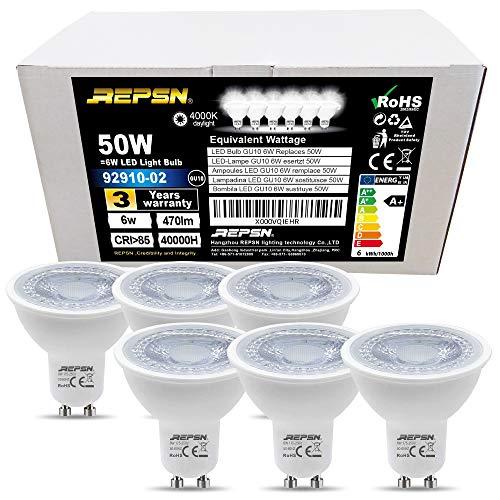 REPSN GU10 6W LED lampen, 38° Beam Hoek, 470lm GU10 LED 50W Halogeen GU10 Lamp Vervanging, Comfortabele Helderheid met De Frosted Diffuser Bescherm de ogen voor kinderen