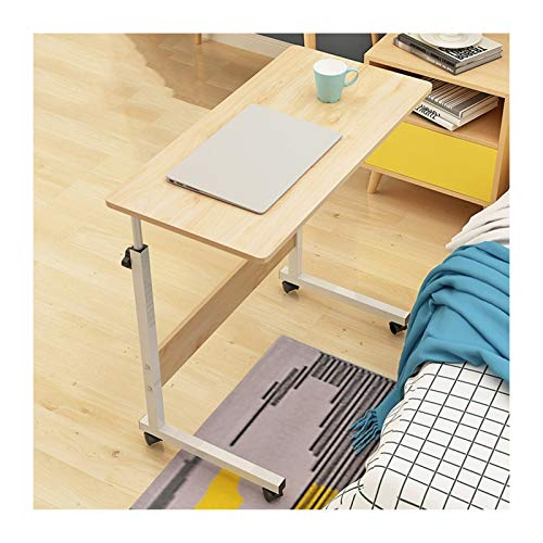 WERTYU Mobile Lap Table, Mobile Laptop Computer Stand Bedside Table Portable Side Table for Bed Sofa Overbed Table with Castor (Color : Imitation Wood 80x40cm)