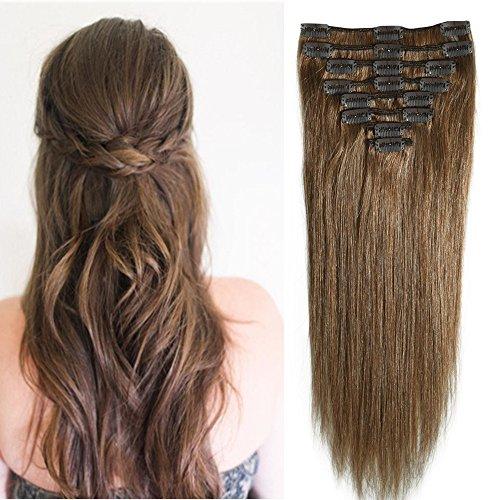 20-60cm Extension Capelli Veri Clip Remy Human Hair Lisci Corti Parrucca Vera (20cm-65g #6 Castano)