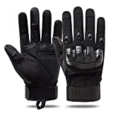 HIB guantes anticortes,guantes anticortes policiales Duro Dedo Completo Dedo Guantes de Pantalla táctil para Motocicleta Ciclismo Caza Escalada Acampar Ejercito (Negro oscuro, M)