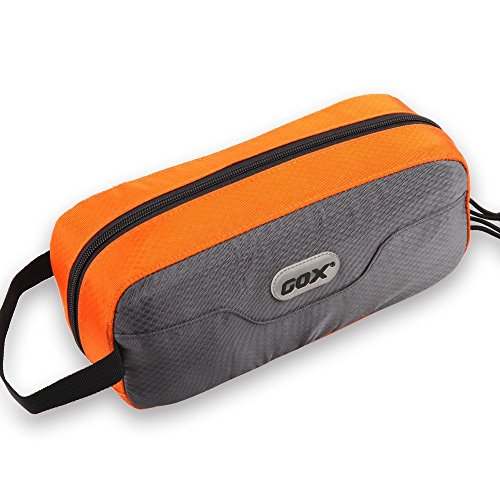 GOX Premium Toiletry Bag, Dopp Kit Case For Travel, Multifunction Cosmetics Organizer Pouch (Grey/Orange)