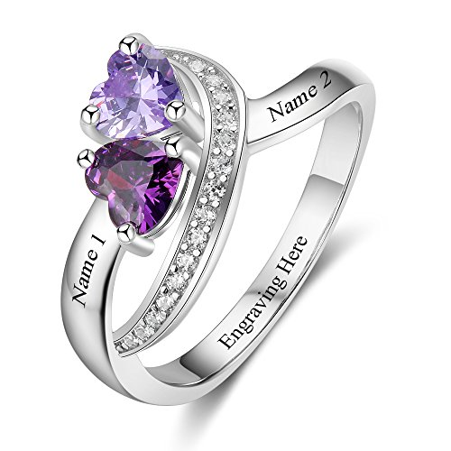 Diamondido Personalized Name Rings 2 Simulated Birthstones Promise Rings for Women Couple Engagement Rings Band (8)