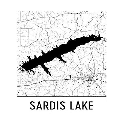 "Modern Map Art Sardis Lake Mississippi, Sardis Lake MS, Sardis Lake Map, Mississippi Map, Lake Map, Sardis Lake Art, Mississippi Art, Sardis Poster 24"" x36"
