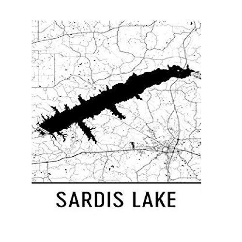 Modern Map Art Sardis Lake Mississippi, Sardis Lake MS, Sardis Lake Map, Mississippi Map, Lake Map, Sardis Lake Art, Mississippi Art, Sardis Poster 24' x36