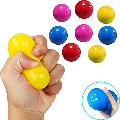 4Color Fluorescent Sticky Target Balls, Fluorescent Sticky Target Anti-Stress-Reliever-Bälle, Globbles Sticky Balls, Stress Relief Wall Balls Dekompressionsspielzeug für Erwachsene Kinder (8 STÜCK)