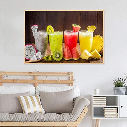 Lcgbw Fruitsap, levensmiddelen, schilderijs, dranken, citroenen, posters en drukken, citroenkeuken, decoratie, moderne muurkunst afbeelding 60x120cm Canvas + frame