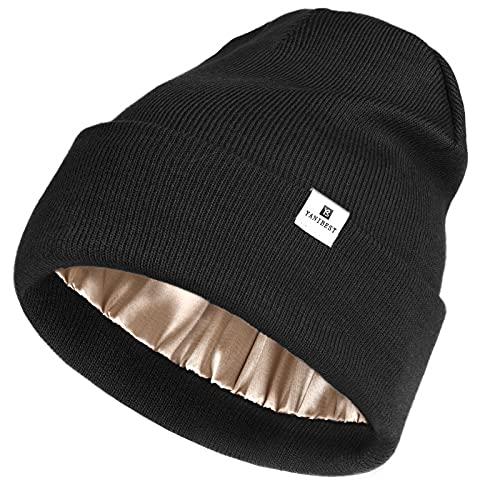 YANIBEST Womens Saitn Lined Knit Beanie Hat Acrylic Winter Hats for Women Men Silk Lining Soft Slouchy Warm Cuffed Beanie Hat Black