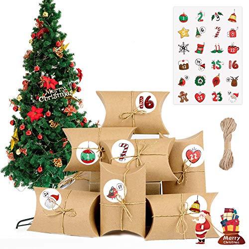 Telgoner Adventskalender zum Befüllen, 24 Adventskalender Kraftpapier Tüten Geschenkschachtel DIY mit 24 Weihnachten Zahlenaufklebern und 26 Juteschnur, Adventskalender 2020 für Kinder Mädchen Männer