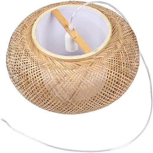 Pantalla de bambú, Pantalla de Techo Colgante, Pantallas de lámpara de ratán de Mimbre para Bricolaje, luz Colgante Tejida (no Contiene Bombillas) para Exteriores