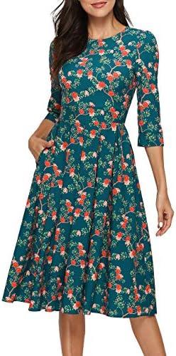 Simple Flavor Women s Floral Vintage Dress Elegant Midi Evening Dress 3 4 Sleeves XH0360Green product image
